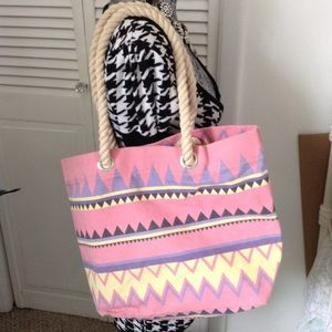 FOREVER 21 PASTEL CANVAS TOTE BAG